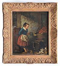 Dutch School, 19th c., Girl Feeding Cats, oil/canvas