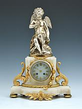 Monumental Silver & Gold Gilt Bronze Marble Cupid Clock