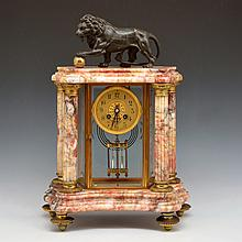 French Bronze & Rouge Marble Mantle Clock
