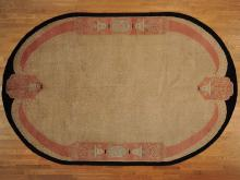 9'x13' Antique Chinese Art Deco Exc Cond Oval Hand Knotted Oriental Rug