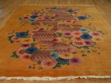 Chinese Rug Art Deco 8'x10' Floral Design Orange Hand Knotted 100% Wool