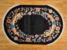 Art Deco Black Oval Chinese Rug Floral Design 6'x9' Hand Knotted