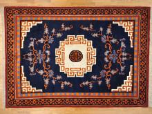 10'x14' Navy Blue Thick and Plush Chinese Oriental Rug 100 Percent Wool