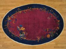 6'x9' Antique Chinese Art Deco Full Pile Oval Handmade Oriental Rug