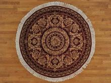6'x6' Burgundy Round Versace Design Handmade Oriental Rug 100% Wool