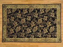 6'x9' Black Modern Nepali Hand Knotted Wool and Silk Oriental Rug