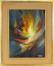 LEONARDO NIERMAN ABSTRACT PAINTING of a FIREBIRD