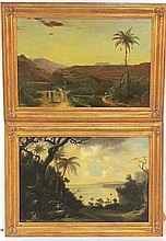 Pair 19th c. S. LEE CONTINENTAL LANDSCAPE PAINTINGS