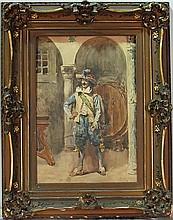 ETTORE SIMONETTI WATERCOLOR of an ITALIAN CAVALIER