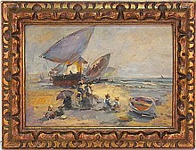 ANTIQUE FRENCH IMPRESSIONIST PAINTING BEACH SCENE