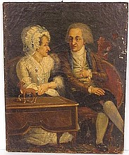 18th c. PAINTING of ELDERLY COUPLE