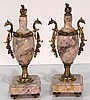 Pair BRONZE & MARBLE CLOCK GARNITURE