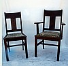 Pair Arts & Crafts Oak Side Chairs