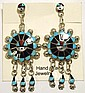 Zuni Multi-Stone Inlay Sun Face Sterling Silver Post Earrings - Abel Soseeah