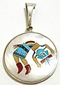 Zuni Multi-Stone Inlay Rainbow Kachina Sterling Silver Pendant - Harlan & Monica Coonsis