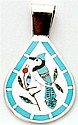 Zuni Multi-Stone Blue Bird Pendant - Dennis & Nancy Edaakie