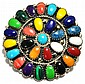 Navajo Multi-Stone Cluster Sterling Silver Pendant & Pin - Juliana Williams