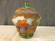 AFTER GALLE FRENCH CAMEO GLASS GINGER JAR SIGNED