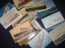 LOT OF 35 VINTAGE SHIP POSTCARDS