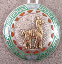 PERUVIAN STERLING & 18K GOLD LLAMA ENAMELED PIN