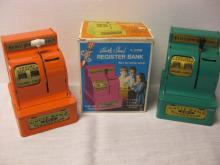 LOT OF 2 UNCLE SAM 3 COIN REGISTER BANKS