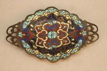 Antique Diminutive Bronze French Champleve Tray