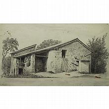 Alberto Pasini  (Italian 1826 - 1899) Rustic Barn