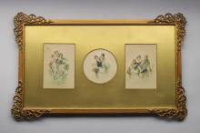 (3) Framed Antique Colored Etchings