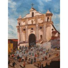 Signed Old Spanish Mission w/ People