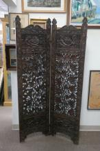 Antique Chinese Carved 2 Panel Screen