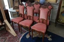 6 Art Nouveau Chairs w/ Reddish Seats