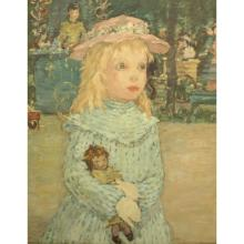 Early 20th C. Oil/Board Young girl with Doll
