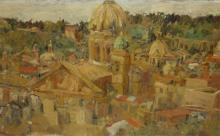 Rome Oil/Board Signed '1944 xmass'