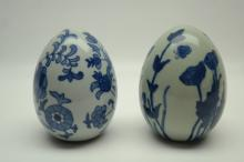 Oriental Blue/White Ceramic Egg Forms