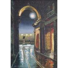 Signed Nocturnal Street Scene Oil/Canvas