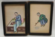 Pair of Small Chinese Export Painted Figures