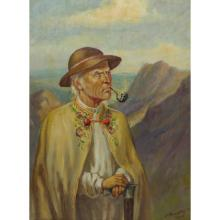 Signed European Depicting Old Man Smoking Pipe