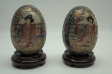 Vintage Oriental Painted Ceramic Eggs