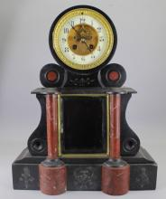 Antique French Black Slate/Red Marble Mantel Clock