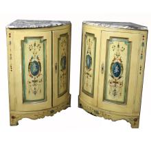 Pair of Antique Italian Polychrome Corner Cabinets