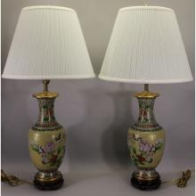 Pair of Antique Chinese Cloisonne Urn Form Lamps