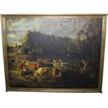 S. Denecher Large Pastoral Scene, Oil/Canvas