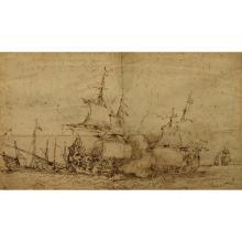 17th C. Marine Drawing of Barbary Coast Pirates