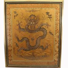 Antique Chinese Embroidered Silk Dragon Tapestry