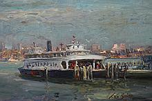 Signed Impressionist Painting of a ferry