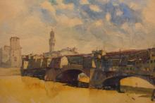 Signed 20th C. European Watercolor of a Bridge