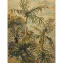 Signed 20th C. Watercolor of Palm Trees