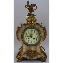 Antique French Onyx/Bronze Mounted Mantel Clock