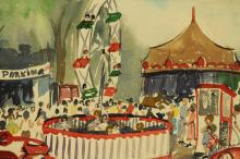 Signed 20th C. Carnival Scene Watercolor