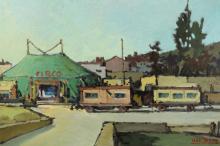 Italian School, 1950?s, circus scene, oil/canvas